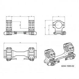 Montáž optiky jednodílná - upínání dvojicí upínek
